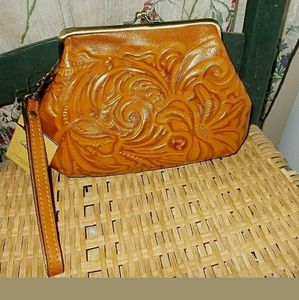 NEW Patricia Nash wristlet tooled leather